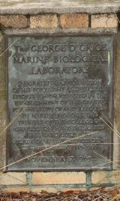 Grice Marine Laboratory Marker image. Click for full size.