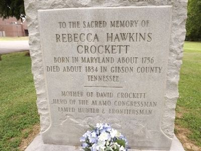 Rebecca Hawkins Crockett Marker image. Click for full size.