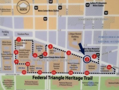 Map of the Federal Triangle Heritage Trail System image. Click for full size.