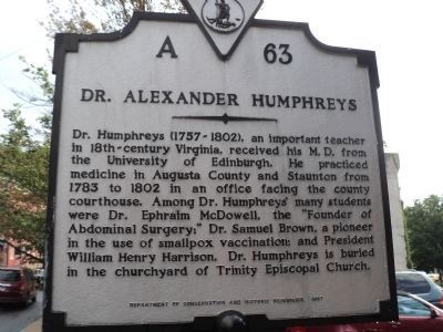 Dr. Alexander Humphreys Marker image. Click for full size.