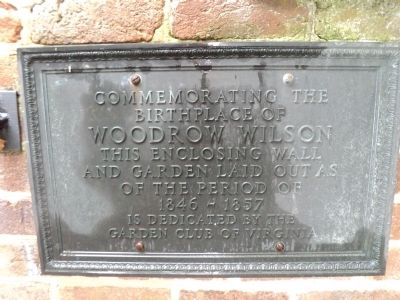 Birthplace of Woodrow Wilson Marker image. Click for full size.