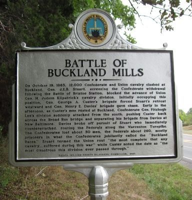 Battle of Buckland Mills Marker image. Click for full size.