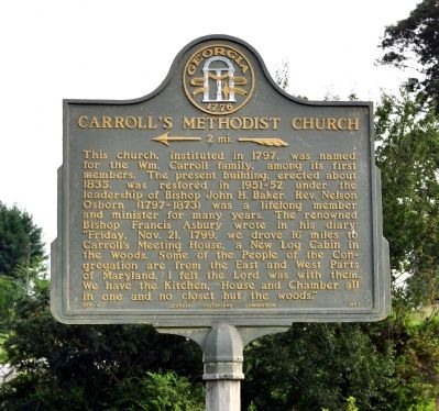Carroll's Methodist Church Marker image. Click for full size.