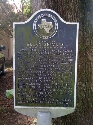 Birthplace of Allan Shivers Marker image. Click for full size.