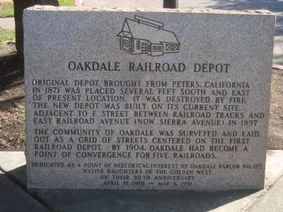 Oakdale Railroad Depot Marker image. Click for full size.