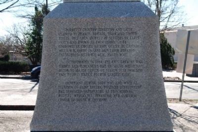 Centennial of Hattiesburg Monument<br>West Inscription image. Click for full size.