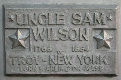 Uncle Sam Monument Marker - Base of Statue - Front image. Click for full size.
