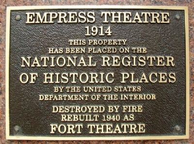 Empress Theatre NRHP Marker image. Click for full size.