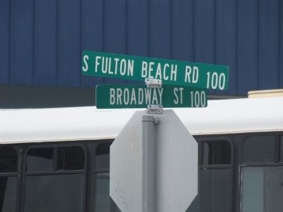 Street Sign at corner for Fulton Seafood Industry Marker image. Click for full size.