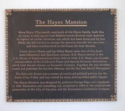 Hayes Mansion Marker image. Click for full size.