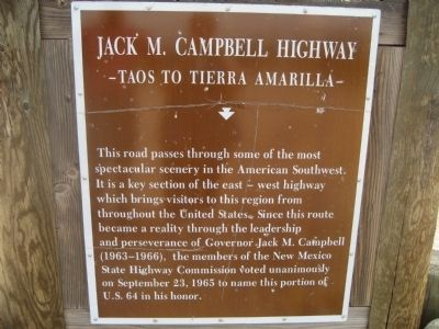 Jack M. Campbell Highway Marker image. Click for full size.