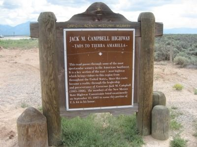 Jack M. Campbell Highway Marker - Front image. Click for full size.