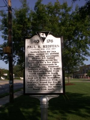 Redfern Field / Paul R. Redfern Marker Reverse image. Click for full size.