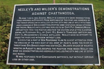 Negley's and Wilder's Demonstrations Against Chattanooga Marker image. Click for full size.