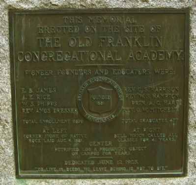 The Old Franklin Congregational Academy Marker image. Click for full size.