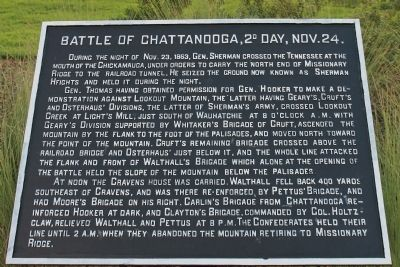 Battle of Chattanooga, 2d Day, Nov. 24. Marker image. Click for full size.