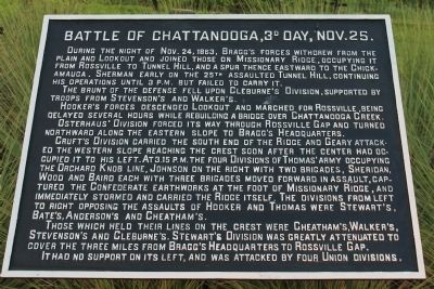 Battle of Chattanooga, 3d Day, Nov. 25. Marker image. Click for full size.