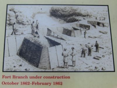 Fort Branch under construction, October 1862-February 1863 image. Click for full size.