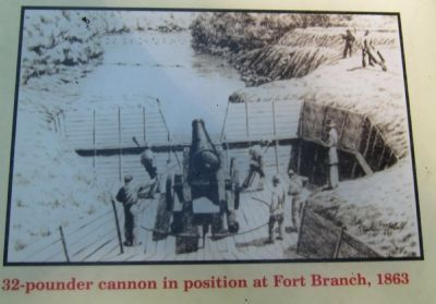 32-pdr cannon in position at Fort Branch, 1863 image. Click for full size.