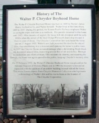 History of The Walter P. Chrysler Boyhood Home Marker image. Click for full size.