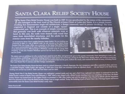 Santa Clara Relief Society House Marker image. Click for full size.