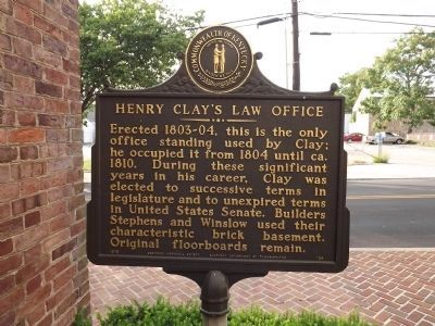 Henry Clay's Law Office Marker image. Click for full size.