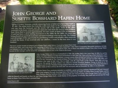 John George and Susette Bosshard Hafen Home Marker image. Click for full size.