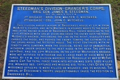 Steedman's Division - Granger's Corps. Marker image. Click for full size.