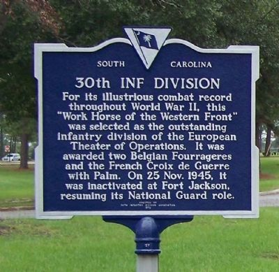 30th Inf Division Marker reverse side image. Click for full size.