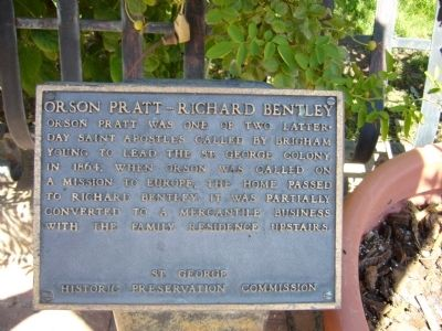 Orson Pratt – Richard Bentley Marker image. Click for full size.