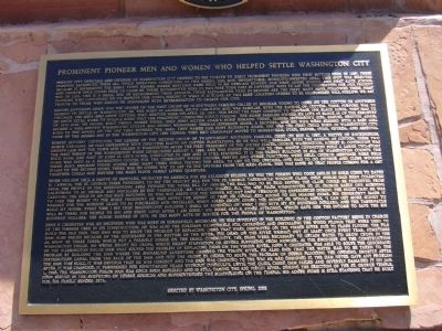 Prominent Pioneer Men and Women Who Helped Settle Washington City Marker image. Click for full size.