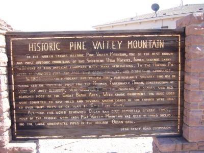 Historic Pine Valley Mountain Marker image. Click for full size.