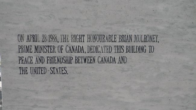 "Embassy of Canada in Washington, DC: Dedicated to ""peace and friendship"", 1988 image. Click for full size."