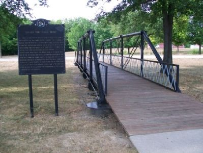 Fancher Pony Truss Bridge and Marker image. Click for full size.