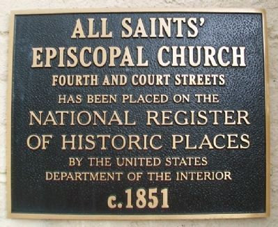 All Saints' Episcopal Church NRHP Marker image. Click for full size.