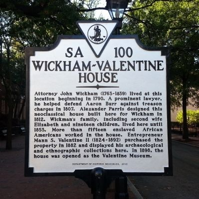 Wickham-Valentine House Marker image. Click for full size.