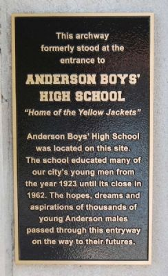 Anderson Boys' High School Marker image. Click for full size.