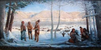 Early Shawnee Village, 1730 Mural image. Click for full size.