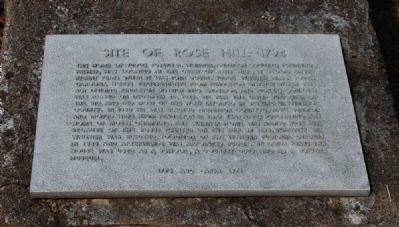 Site of Rose Hill -- 1794 Marker image. Click for full size.