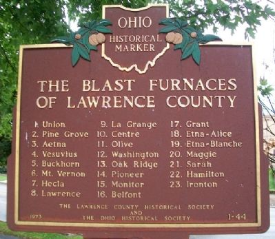 The Blast Furnaces of Lawrence County Marker (back) image. Click for full size.