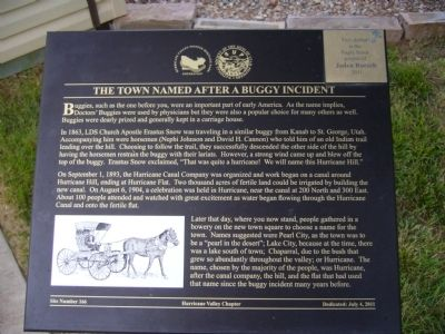 The Town Named After a Buggy Incident Marker image. Click for full size.