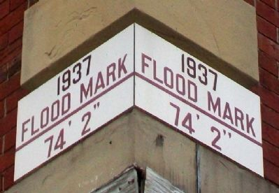 1937 Flood Mark on Bigg's House Marker image. Click for full size.
