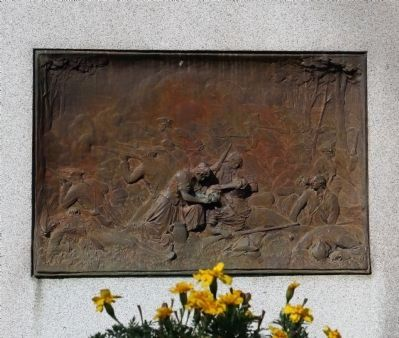 Bronze sculpture on the left side of the Molly Pitcher Grave. image. Click for full size.