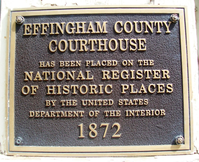 Effingham County Courthouse NRHP Marker