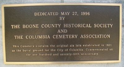Columbia Cemetery Marker image. Click for full size.