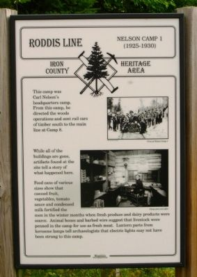 Roddis Line – Nelson Camp 1 (1925-1930) Marker image. Click for full size.