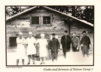 Upper left photo: Cooks and foremen of Nelson Camp 1 image. Click for full size.