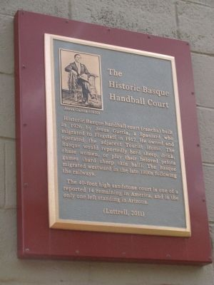 The Historic Basque Handball Court Marker image. Click for full size.