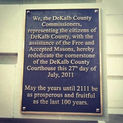 DeKalb County Courthouse Marker on Rededicate The Cornerstone image. Click for full size.