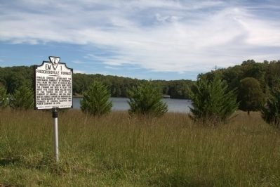 Fredericksville Furnace Marker and the Douglas Run arm of Lake Anna image. Click for full size.